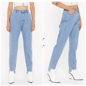 NEW Nasty Gal Diamante Studded Mom Jeans Highrise